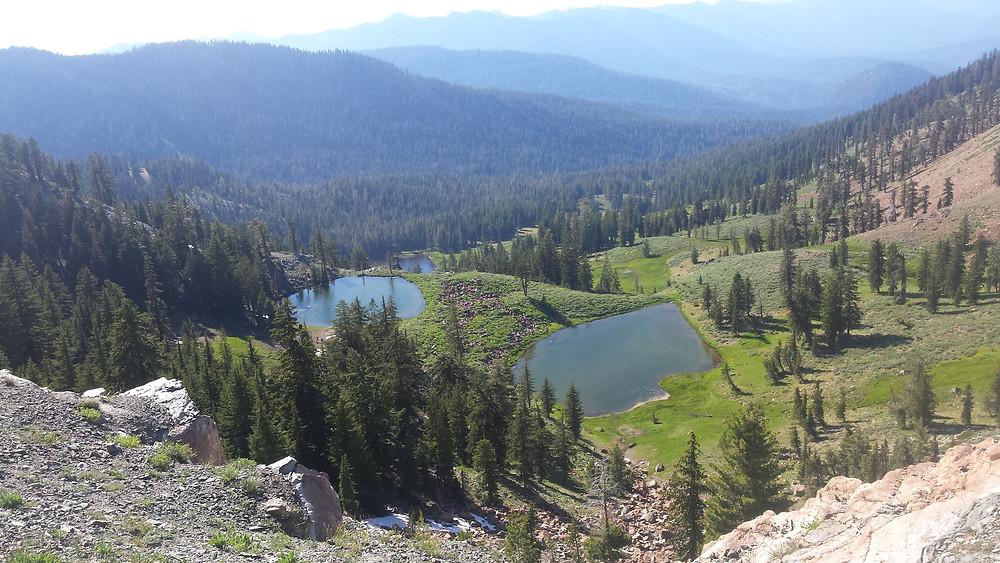two pretty alpine lakes along the trail