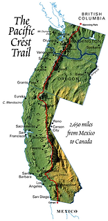Map of the Pacific Crest Trail