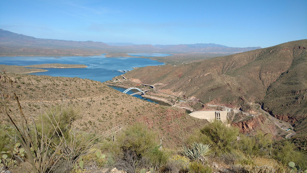 The bridge that we crossed over Roosevelt Lake