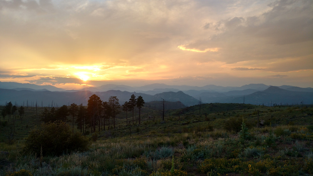 Sunset from our first night's trail camp