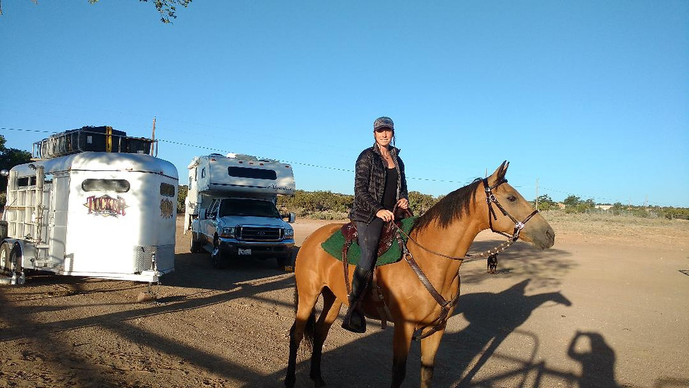 riding out of the fairgrounds at Grants, NM