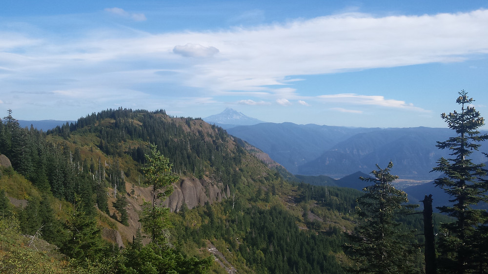Mt. Hood in the distance during the long descent toward the Columbia