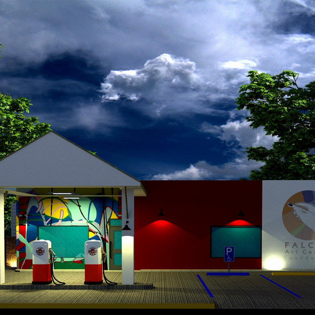 Future Falcon Art Center Foundation -3-d rendering - night time- future Del Rio,Texas, U.S.A.