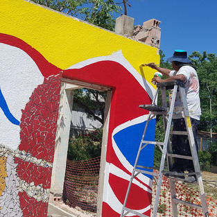 Artist Adrian Jesus Falcon painting foundation New Mural - Year/2020--Del Rio, Texas, U.S.A.
