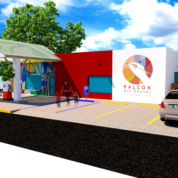 Future Falcon Art Center Foundation -3-d rendering - day time- future - Del Rio, Texas, U.S.A.