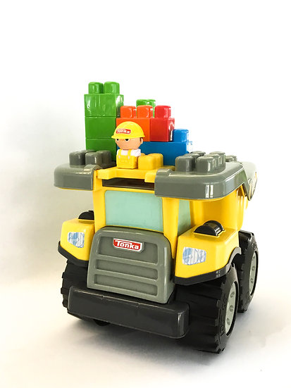 T-016 Tonka Dump Truck Kids at Work with Blocks