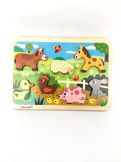 P-035 Janod Farm Animal Wooden Puzzle