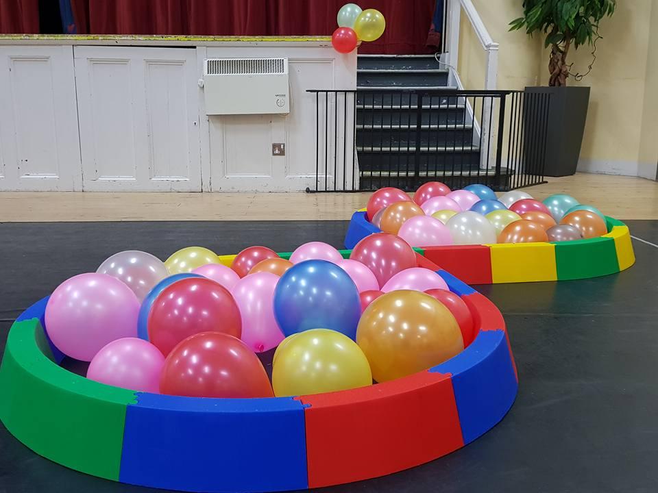 Balance beam and balloons