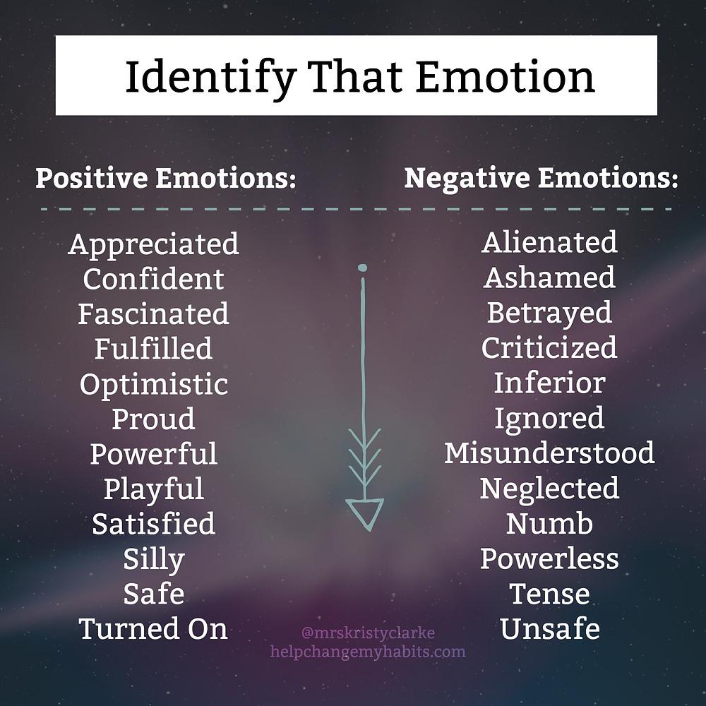 Identify That Emotion Feelings List and Emotions List