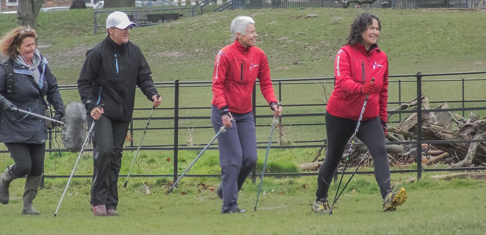 Clare Balding trying Nordic Walking in Nottingham