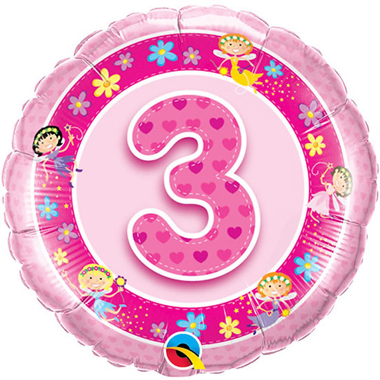 "Pink Number 3 - Fairies 18"" Foil"