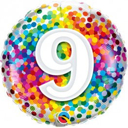Number 9 - Multicoloured Spots 18""