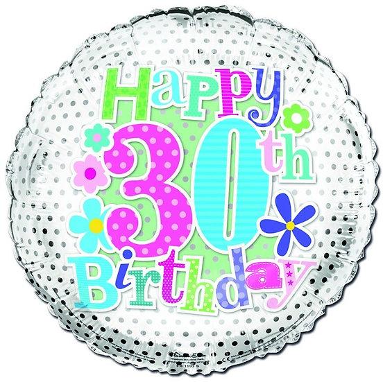 "Happy 30th Birthday - Flowers 18"""