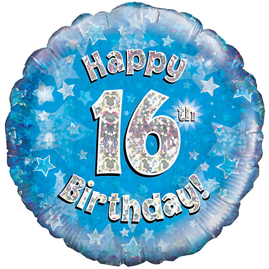 Happy 16th Birthday - Blue/Silver 18""