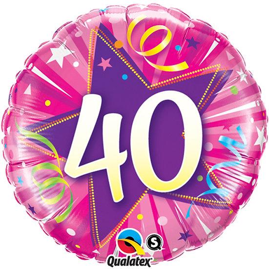 "40th Birthday Pink Swirls - 18"" Foil"