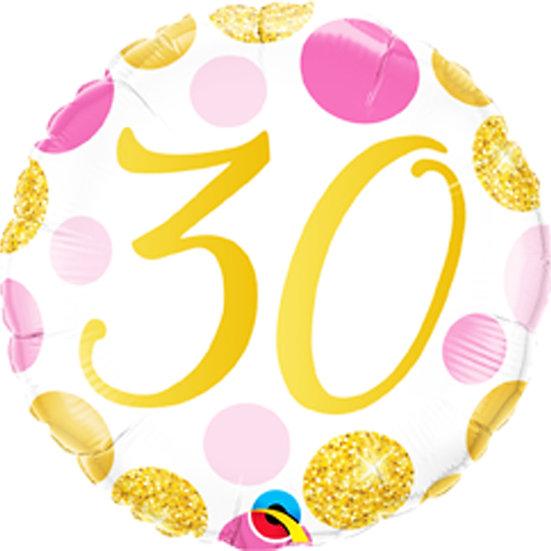 "30th Birthday Gold Balls - 18"" Foil"