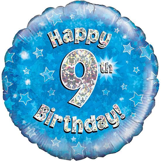 """Happy 9th Birthday - Blue 18"""""""