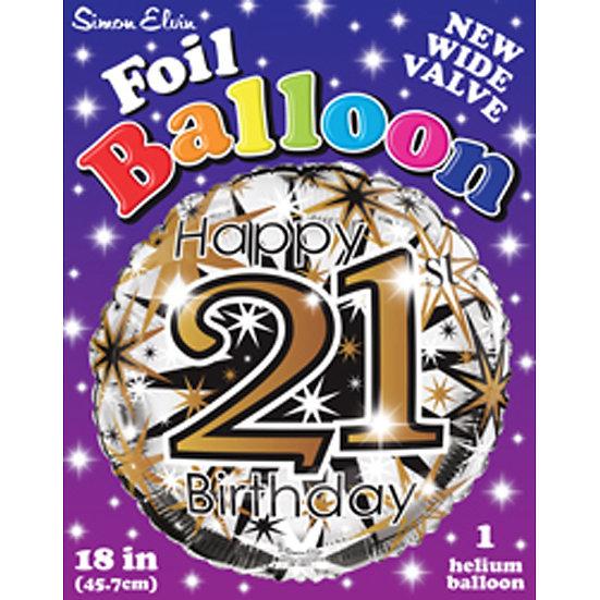 """Happy 21st Birthday - Gold/Black 18"""""""