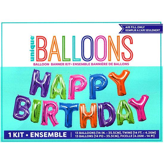 Multi-Coloured Happy Birthday Air Fill Balloon Kit