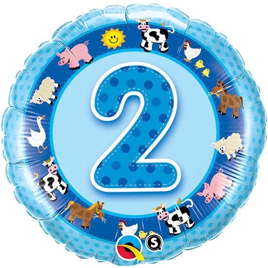 "Number 2 - Farm Animals Blue 18"""