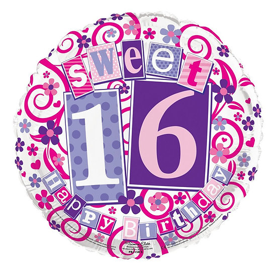"Sweet 16 - 18"" Foil Birthday Balloon"