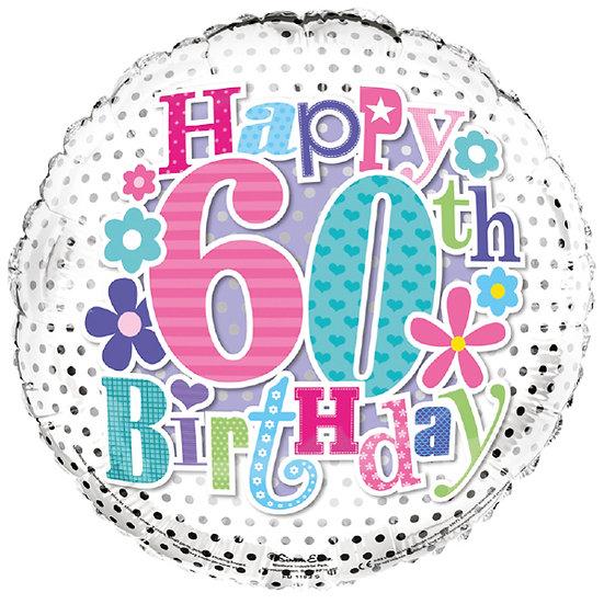 "Happy 60th Birthday - Flowers 18"" Foil"