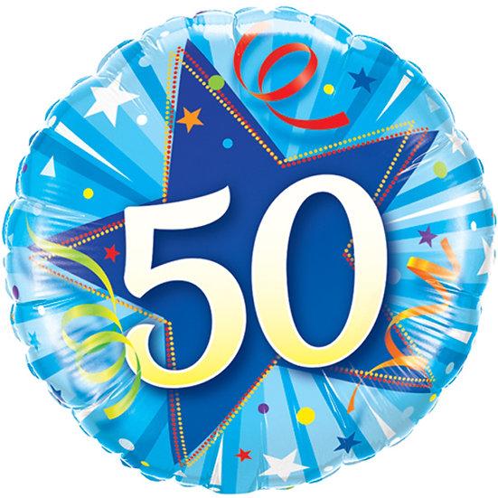 "50th Birthday Balloon Blue Swirls - 18"" Foil"