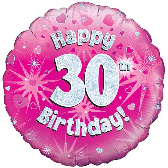 "Happy 30th Birthday - Pink/Silver 18"" Foil"