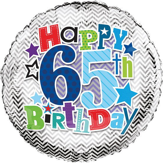 "Happy 65th Birthday - Silver Stars 18"" Foil"