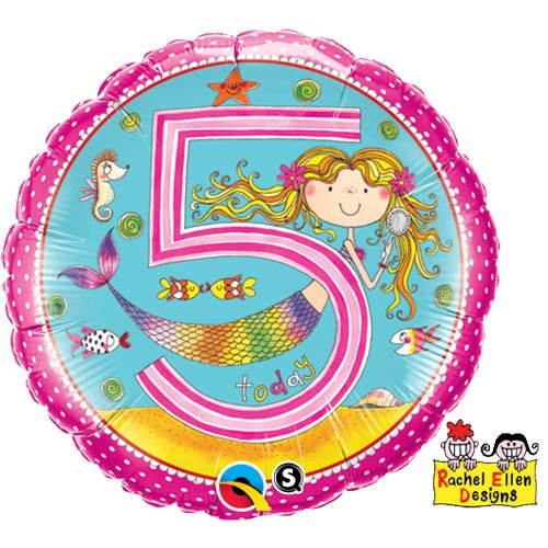 "Number 5 Mermaids Pink - 18"" Foil"