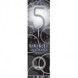Number 5 - Silver Sparkler Candle