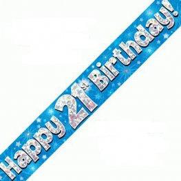 Happy 21st Birthday Banner - Blue