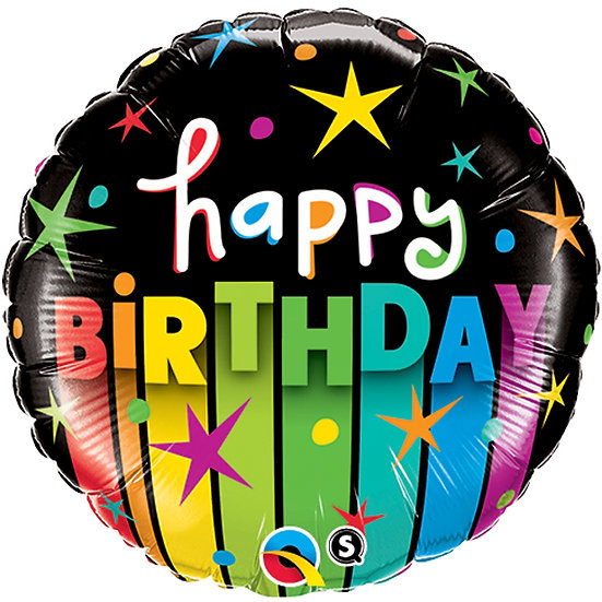 "Black and Rainbow Happy Birthday 18"" Foil"