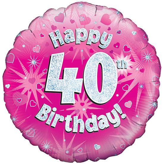 "Happy 40th Birthday - Pink/Silver 18"" Foil"