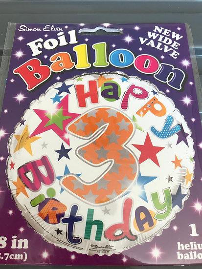 "Age 3 Happy Birthday - Stars 18"""
