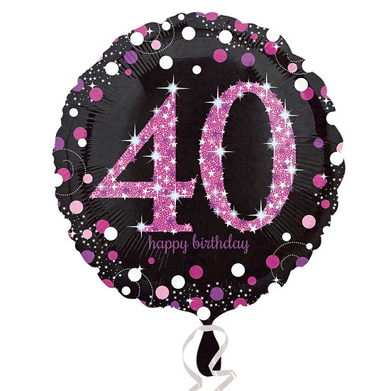 "40th Birthday - Pink sparkles 18"" Foil"