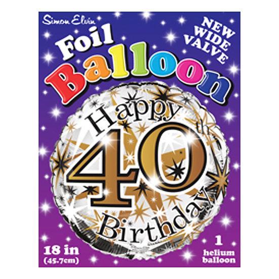 "Happy 40th Birthday - Gold 18"""