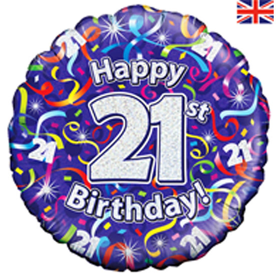 "Happy 21st Birthday Purple Jazzy - 18"" Foil"