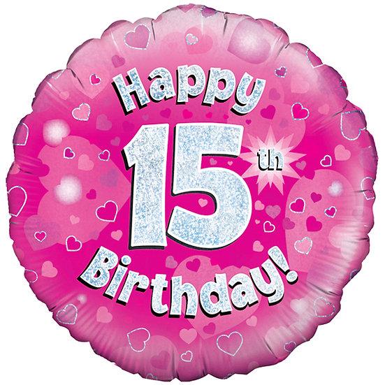 "Happy 15th Birthday - Pink 18"""