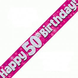 Happy 50th Birthday Banner - Pink