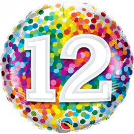 "Number 12 Coloured Confetti 18"" Foil"
