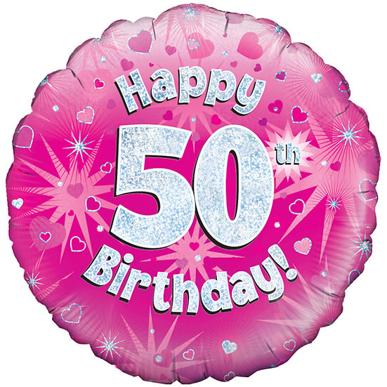 "Happy 50th Birthday - Pink/Silver 18"" Foil"