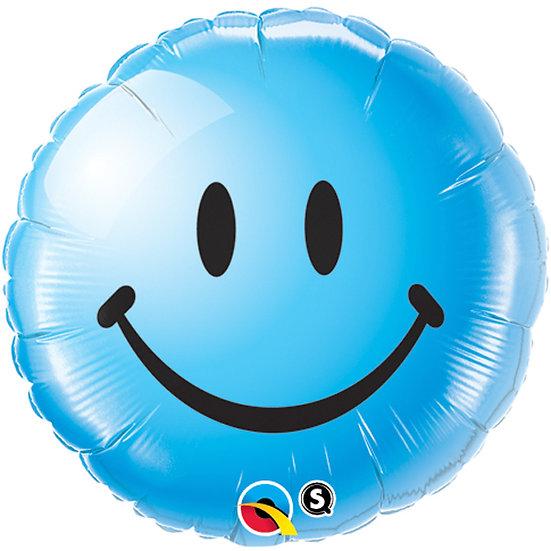 """Blue smiley face 18"""" Foil"""