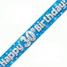 Happy 30th Birthday Banner - Blue