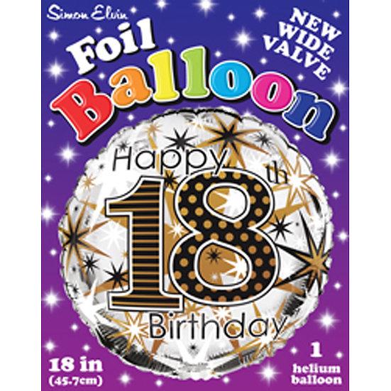 "Happy 18th Birthday - Black/Gold 18"""