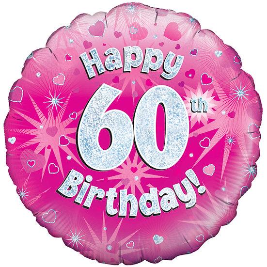 "Happy 60th Birthday - Pink/Silver 18"" Foil"
