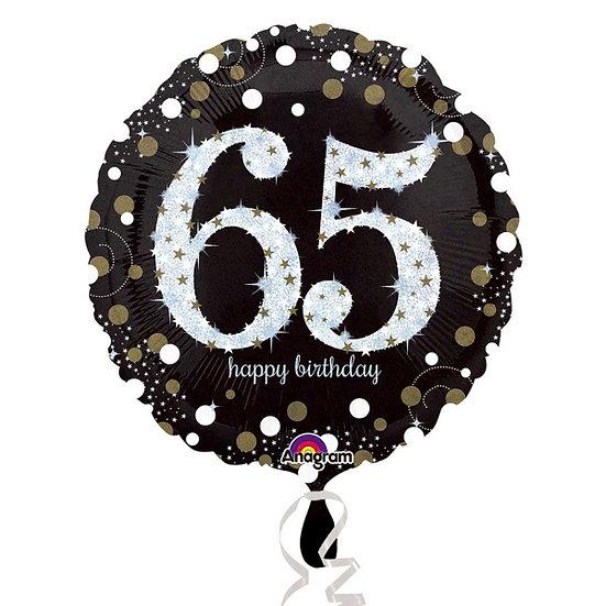 "Happy 65th Birthday - Black/Glitter 18"" Foil"