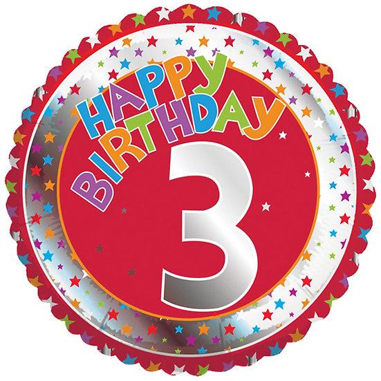 "Happy 3rd Birthday Red 18"""