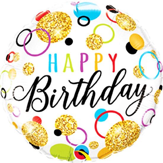 """Happy Birthday - Glitter Balls 18"""""""