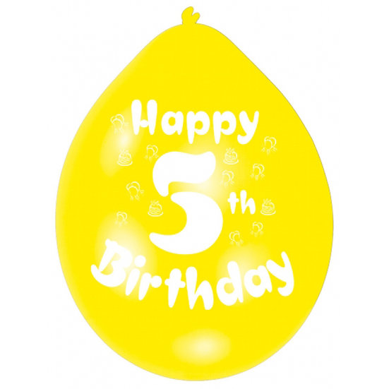 "9"" Happy 5th Birthday Latex Balloons"